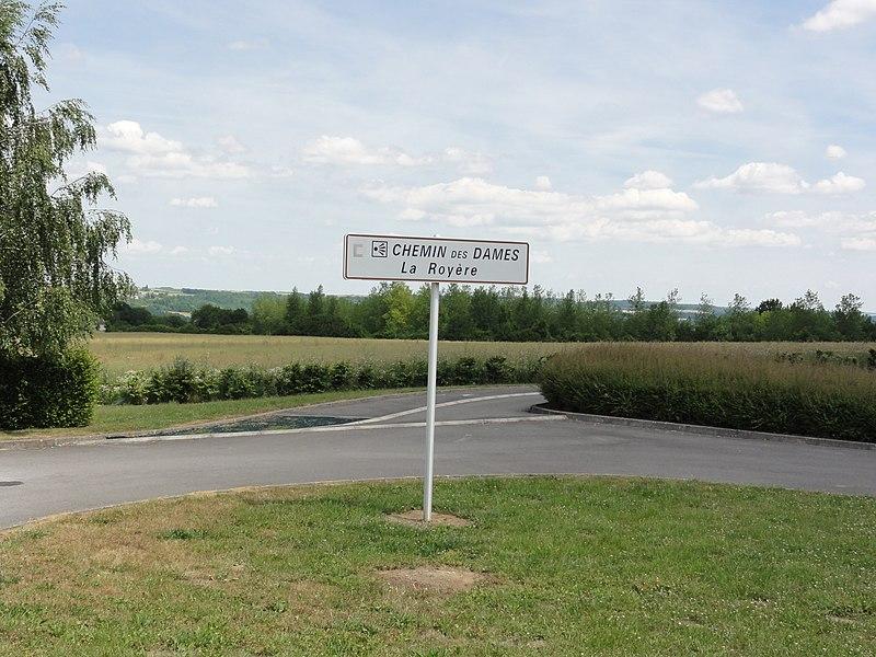 Filain (Aisne) Chemin des Dames, La Royère, panneau