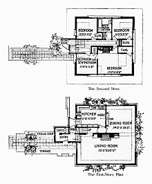 Black ink floor plans from the original article. Rooms are arranged as described in main text with main entrance and pergola at left.