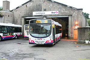 First Scotland East - Wright Eclipse bodied Volvo B7RLE at the former Linlithgow depot in September 2008