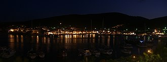 Fiskardo - A panoramic view of the harbour at night