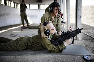 Women's Affairs advisor - IDF Women's Affairs Advisor Brigadier General Gila Kalifi-Amir practices her marksmanship skills, 2010