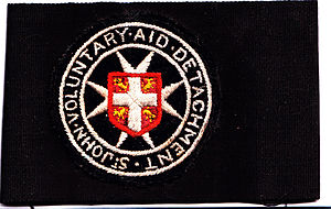 Voluntary Aid Detachment - St. John's VAD cloth embroidered insignia (1916)