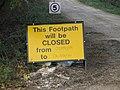 Footpath closed - geograph.org.uk - 1546795.jpg