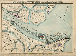 Siege of Fort Pulaski - Map of the siege of Ft. Pulaski. Fort in red with outlying batteries, U.S. batteries in grey; besieging batteries upriver had infantry and gunboat support to cut off Pulaski from Savannah