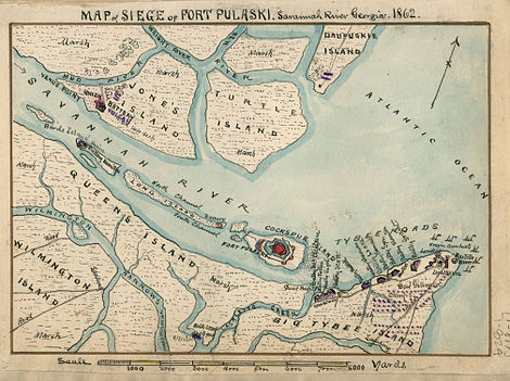 an island map showing (a) fort in the center, and Union batteries on (b) two upriver islands, (c) one on a north coastal island, and (c) eleven east on Tybee Island