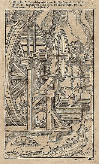 Gear train - An Agricola illustration from 1580 showing a toothed wheel that engages a slotted cylinder to form a gear train that transmits power from a human-powered treadmill to mining pump.