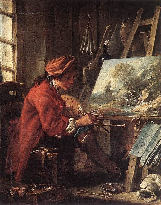 """Painter in his Studio"" by François Boucher"
