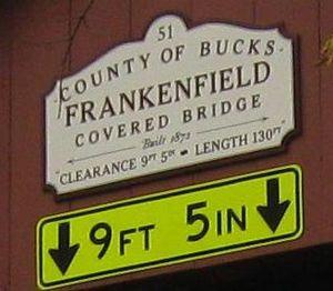 Frankenfield Covered Bridge - Image: Frankenfield Covered Bridge Sign