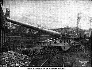 340mm/45 Modèle 1912 gun - 340 mm Modèle 1912 gun on railway mounting.