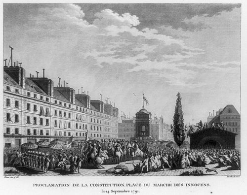 The fountain as it appeared in 1791 when the French constitution was proclaimed on the Marche des Innocents French constitution proclamation 1791.jpg