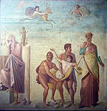 A peristyle fresco from Pompeii showing Calchas presiding over the sacrifice of Agamemnon's daughter, Iphigeneia, as the divine price for winds to carry the fleet to Troy.