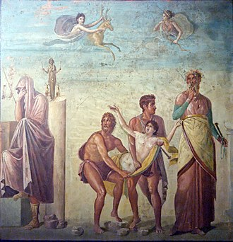 Calchas - Calchas presides at the sacrifice of Iphigeneia in a peristyle fresco from Pompeii.