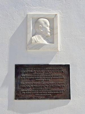 Friedrich Hiller von Gaertringen - Plaque dedicated to Friedrich Hiller von Gaertringen in Fira, Santorini.