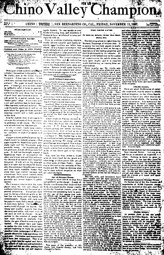 Chino Champion - Front page, first issue of the Chino Valley Champion, November 1, 1887
