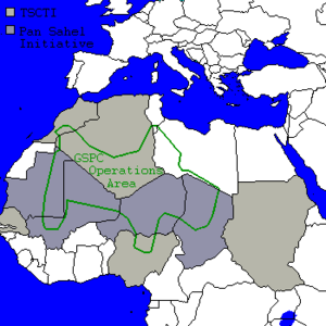 Salafist Group for Preaching and Combat - GSPC area of operations and Pan-Sahel Initiative states.