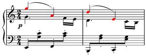 Musical cryptogram - Image: Gade, Drei kleine Clavierstücke, no. 3, Alla marcia, mm.20 21