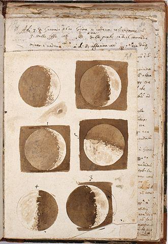 Зарисовки Луны из рабочей тетради Галилея. 1609 г., Центральная Национальная библиотека, Флоренция