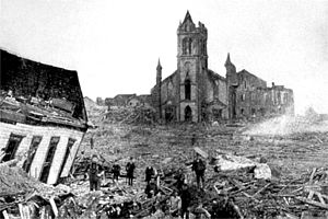 This photograph shows the aftermath of the hurricane and the destruction it wrought.
