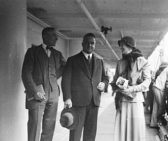Philip Game - Sir Philip and Lady Game are farewelled by Premier Stevens on board RMS Niagara, upon their departure on 15 January 1935.