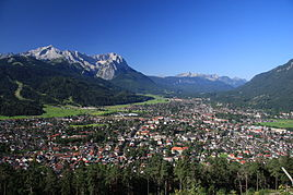 Garmisch-Partenkirchen with Alpspitze and Zugspitze in September 2009