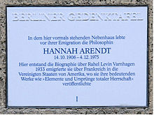 Plaque on the wall at Hannah's apartment building on Opitzstrasse, commemorating her