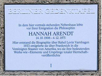Hannah Arendt - Memorial at Opitzstrasse 6