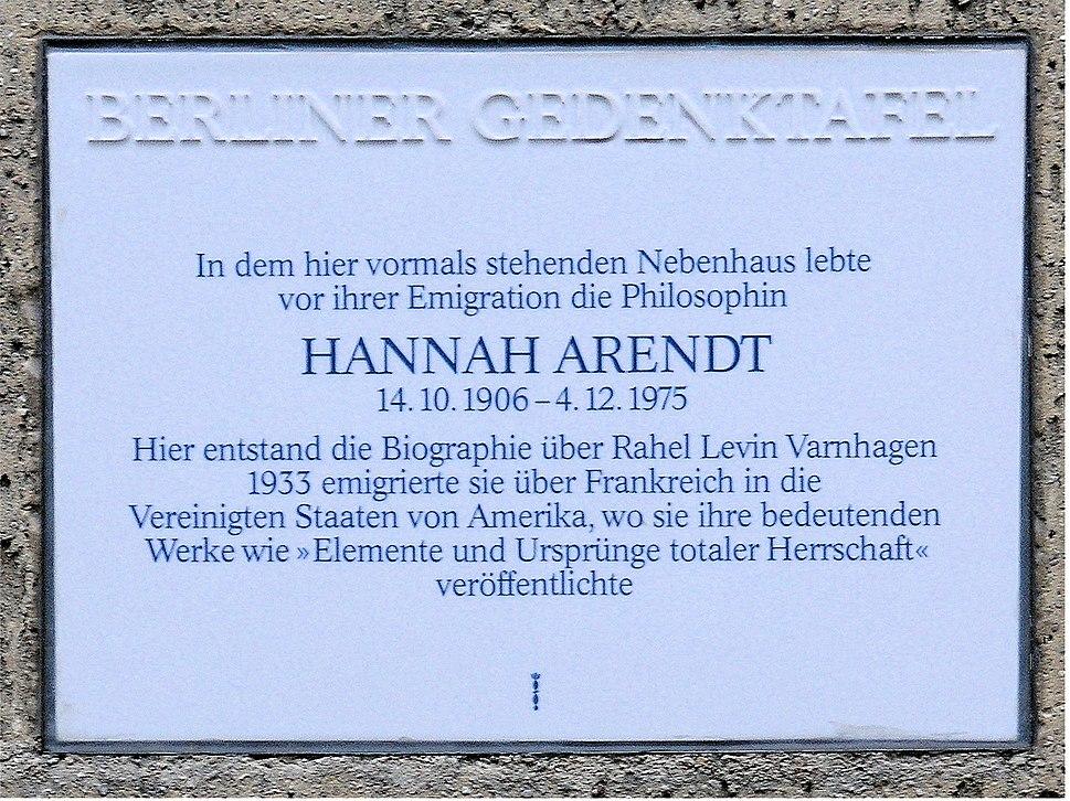 Gedenktafel Opitzstr 6 (Stegl) Hannah Arendt