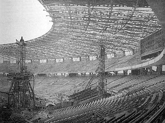 Gelora Bung Karno Stadium - The stadium under construction, April 1962.
