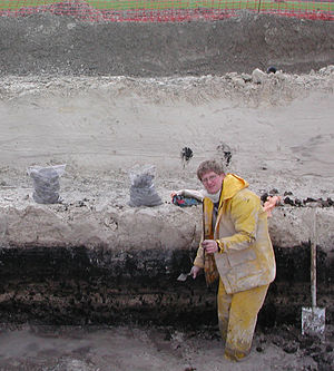Geoarchaeology - A geoarchaeologist analyzes a stratigraphy on the route of the LGV Est high-speed railway line.