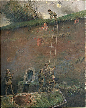 Capture of Le Quesnoy (1918) - A painting depicting the scaling of the walls of Le Quesnoy by Second Lieutenant Averill, executed in 1920 by George Edmund Butler, who was an official artist of the New Zealand Expeditionary Force.