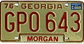 Georgia 1977 license plate sticker on 1976 license plate - Number GPO 643.jpg