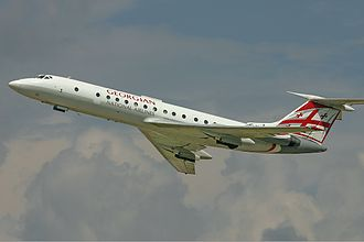 Sky Georgia - A Tupolev Tu-134 of Georgian National Airlines in 2006, shortly after take-off at Vnukovo International Airport.