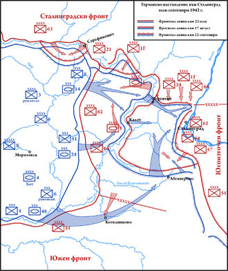 Battle of Kalach - Map showing the German (blue) attack in August 1942 that surrounded the Soviet (red) 62nd Army at the Battle of Kalach.