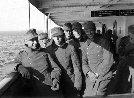 German soldiers on the ferry from Jylland to Sjælland