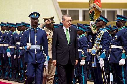 Turkish President Recep Tayyip Erdogan inspects Honor Guards mounted by the Ghana Air Force at the Flagstaff House the Presidential Palace of Ghana in Greater Accra on 1 March 2016. Ghana Airforce Reccep Tayyip Erdogan Honor Guard at Flagstaff House.jpg