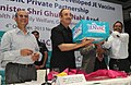 Ghulam Nabi Azad launching the Japanese Encephalitis (JE) Vaccine, produced under PPP by Bharat Biotech, at a function, in New Delhi. The DG, ICMR and Secretary, Department of Health Research, Dr. V.M. Katoch is also seen.jpg