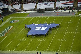 2007 New York Giants season - A giant Giants jersey is unfurled on the field at Wembley Stadium