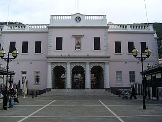 Gibraltar - John Mackintosh Square entrance to the Gibraltar Parliament