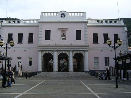 John Mackintosh Square entrance to the Gibraltar Parliament Gibraltar Parliament at dusk.jpg