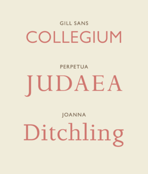 Specimens of typefaces by Eric Gill