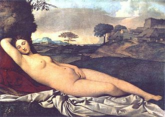 Rectangular oil painting. Venus is depicted as a naked sleeping woman lying on a white sheet and velvet cushion, in front of a beautiful landscape.