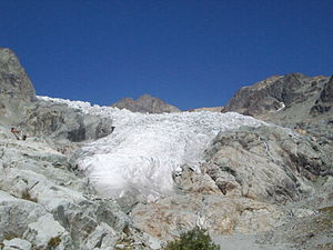 Glacier Blanc - The snout of the Glacier Blanc in 2004