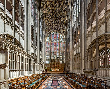 The High Altar and stained glass of Gloucester Cathedral in Gloucestershire, England.