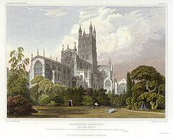 Gloucester Cathedral in 1828. engraved by J.LeKeux after a picture by W.H.Bartlett.jpg