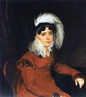 Pyotr Kikin - His wife, Maria (1787-1828). Portrait by Karl Bryullov, one of the first painters to benefit from Kikin's art society.