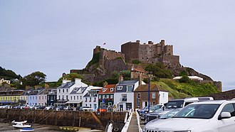 Mont Orgueil - Mont Orguell Castle - view from Gorey quay wall