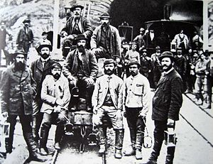 Gotthard Tunnel - Workers in Airolo (1880)