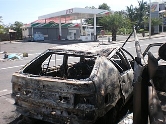 2009 French Caribbean general strikes - A closed gas station near Le Gosier, after a night of violence.