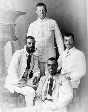 Grand Duke Sergei Mikhailovich of Russia - Grand Duke Alexander Mikhailovich, Grand Duke Sergei (sitting in the foreground), Prince George of Greece and Denmark (standing) and Nicholas II, then just heir to the throne.