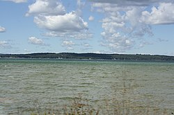 View of Grand Traverse Bay from East Arm looking West on a partially cloudy day.